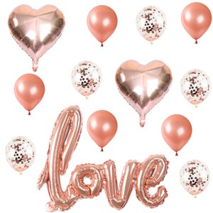 14 unids / set Ligatures grandes Amar letra Foil Balloon Confetti Látex Helio Helio Ballon Aniversario Dectorión de San Valentín