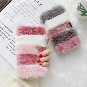Ladddy Gril Woman Color matching Furry Plush Phone Cases For iPhone 12 mini 11 pro max xr xs 7 8 Plus Rabbit fur wallet colorful case cover