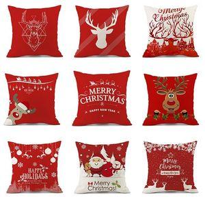 Cushion Decorative Pillow Christmas Decoration Cushion Cover Cartoon Elk Santa Case Linen Decorative Home