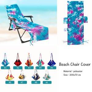 Coque de la chaise de plage de colorant avec poche latérale Chaises de chaise longue Couvertures de serviettes de chaises longues pour la balle de soleil Piscine Sunbather Jardin Jardin Absorption Eau Driery Serviettes Tapis WMQ1102
