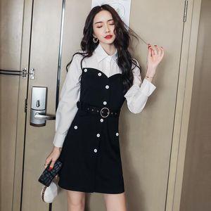 Casual Dresses 2021 Autumn Black White Dress Women Streetwear Long Sleeve Patchwork Shirt With Belt Plus Size Sexy Office Vestido