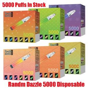 Original Randm Dazzle Device jetable Kit 5000 Puffs Prérublée de 10 ml Pods RM Batterie Glow Glow RGB Light Vape Vapeur Stick Bar plus 100% authentique