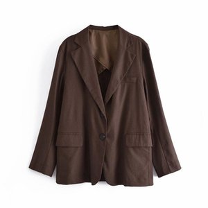 Women's Jackets PUWD Casual Women Jacket 2021 Autumn Fashion Personality Lapel Solid Color Long-sleeved Loose Retro Elegant Female Trendy To