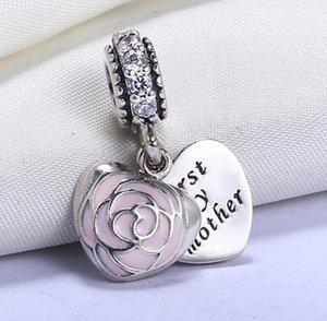 Vente en gros 925 Sterling Silver non plaqué Premier ma mère cœur Charms européen Beads Fit Pandora Chain Bracelet PS2070