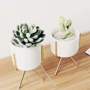 Nordic fleshy wrought vase simple iron frame stand ceramic hydroponic flower pot green planter set PNPZ F4DP