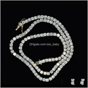 Pendant Necklaces 4Mm 5Mm M 6Mm 1 Row Shiny Tennis Chain Men Hip Hop Iced Out Bling Cz Necklace Jewelry Gold Sier Color Charm Gift 7Di Ejf2B