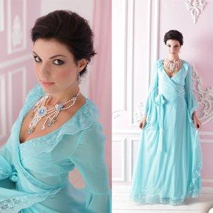 Blue Chiffon Sleepwear Robes Women V Neck Lace Appliques Long Sleeve Bridal Pajama Set Photoshoot Dress Illusion Evening Party Gowns