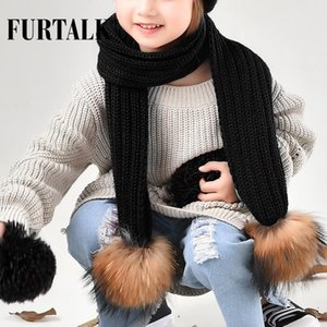 Scarves & Wraps FURTALK Children Knitted Scarf Real Fur Pompom For Girls And Boys CH021