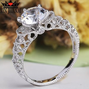 Cluster Rings White Silver Round Crystal Hollow Ring Inlay Cubic Zirconia Engagement For Women Party Jewelry Gift Anillos Mujer