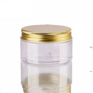 New100ml 200ml 항아리 투명 애완 동물 플라스틱 저장 캔 골드 알루미늄 뚜껑 ewd7001와 라운드 병