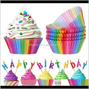 Other Festive Party Supplies 100Pcs Rainbow Cupcake Paper Liners Muffin Cases Cup Cake Topper Baking Tray Kitchen Accessories Pastry D A7Kcs