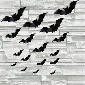 16 قطع هالوين الديكور 3d pvc ملصقات الحائط غرفة المعيشة الأسود ستيريو الخفافيش القابلة للإزالة خلفيات ماء ديكور حديقة المنزل HA1009 7MEG