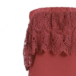 Womens fashion solid Tops color off the shoulder shirt summer elegant openwork lace slim fit wild tube top soft and