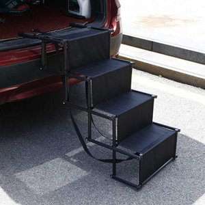 Portable Foldable Pet Dogs Puppy Car Steps Stair Folding Ladder Ramp For Trucks Supplies Dog Stairs Staircase Seat Covers
