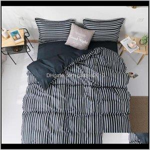 Sets Supplies Textiles Home & Garden Drop Delivery 2021 58 Black Stripe Geometric 3 4Pcs Set Cartoon Duvet Cover Bed Sheets And Pillowcases C