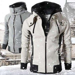 2021 Zipper Men Jackets Autumn Winter Casual Fleece Coats Bomber Jacket Scarf Collar Fashion Hooded Male Outwear Slim Fit Hoody1