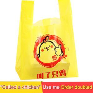 Plastic Packaging Bag Disposable Chicken Cartoon Printed Bakery Takeaway Tote Bags