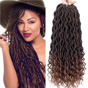 6Pcs Lot Curly Faux Locs Crochet Hair Deep Wave Braiding Hair With Curly Ends Crochet Goddess Locs Synthetic Braids Hair Extensions