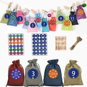 Calendar Christmas 24 Color Bundle Mouth Linen Bag Arrival 24 Digital Sticker Candy Set