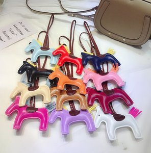 Fashion PU Leather Keychain Animal Key Chain Gift Horse Design Bag Pendant Charm Jewelry Keyring Holder for Women Men Accessories