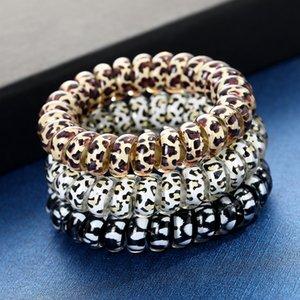 Frauen Mädchen Telefondraht Kabel Gummi-Spiral-Haar-Krawatten-Mädchen-elastische Haarbänder Ring-Seil Leopard-Druck-Armband dehnbare Haarseile M02 775 T2