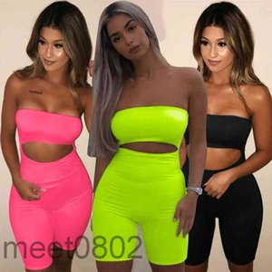 2021 summer Women Jumpsuit Designer sexy One shoulder fit hip lifting leggings open back Onesies Fashion Breast wrap shorts Slim Rompers