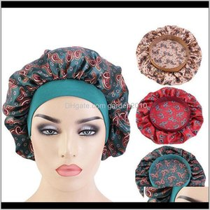Bathroom Accessories Bath Home Garden Drop Delivery 2021 Hair Satin For Sleeping Shower Cap Silk Bonnet Head Cover Wide Elastic Band Women Ni