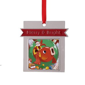 Christmas Pendant Sublimation Frame Shape Ornaments Metal Thermal Transfer Printing Ornament Blanks Customized Gift Diy sea way DWA8683