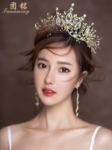 Bridal Crown Womens 18-Year-Old Headdress 2019 New Elegant Korean Dress Wedding Hair Accessories Three-Piece Set