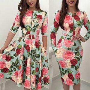 Women's Vintage Retro Floral Long Sleeve Dress Rockabilly Pinup Party Swing Zipper O-Neck Sashes Bodycon Clubwear Midi Dress