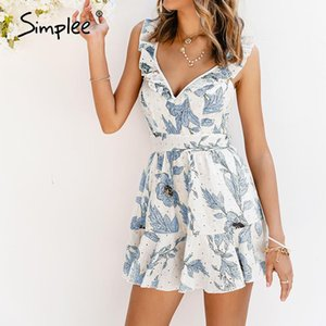 Simplee Sexy deep v-neck women floral print short jumpsuit summer Ruffled elegant high waist romper beach overall holiday