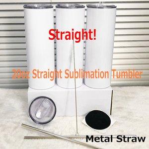 DIY Sublimación Botella de agua Tumblers 20 oz Tumblers rectos de metal Acero inoxidable de acero inoxidable Slim Tumble Vacuum Viaje Taza Regalos
