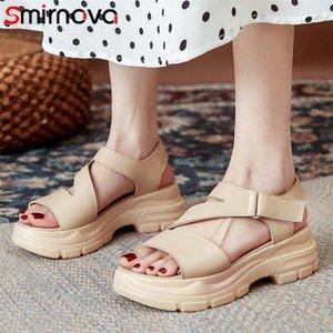 Smirnova hakiki deri ayakkabı kadın sandalet katı renkler moda rahat rahat düz platformu kadın elbise