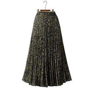 Skirts Leopard Print High Waist Pleated Womens 2021 Summer Chiffon Strechy Casual Plus Size Midi Skirt Ladies Jupe Vintage