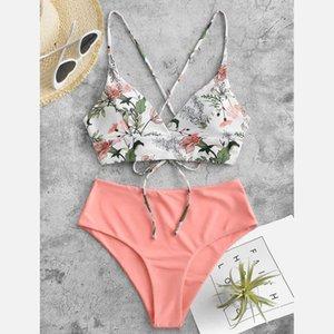 Bikini de cintura alta 2021 Swimsuits Bandeau Swimwear Mujeres empalmando BIQUEINI BEACHWEAR BAÑO Trajes de baño Nuevo