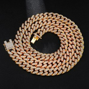 Chokers Crystal Hip Hop 13mm Cuban Link Chain Necklaces For Men Iced Out Bling Rhinestone Chaine Homme Fashion Jewelry