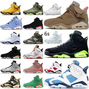 Top Quailty Jumpman 6s Basketball Shoes Electric Green Travis British Khaki Unc 2021 Carmine Black Infrared Gold Hoops Hare Olympic Ltr Flint Mens Sports Sneakers