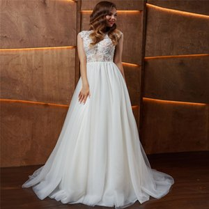 Scoop Lace Appliques A-Line Wedding Dresses New Designer Bridal Gowns Tulle Custom Made Robe De Mariage Women Fashion