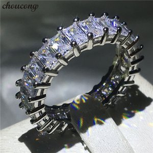 choucong Eternity Ring Princess cut Diamond 925 Sterling Silver Engagement Wedding Band Rings for women men Jewelry