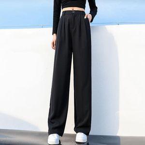 Button Elastic High Waist Suit Pants Women Classical Black Loose Wide Leg Plus Size Office Lady Baggy Straight Trousers Women's & Capris
