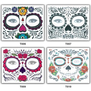 4styles Flowers Temporary Tattoo Sticker Scars Terror Halloween Pattern Eyes Face Waterproof Self Adhesive Paste stickers FFA942 7YL7