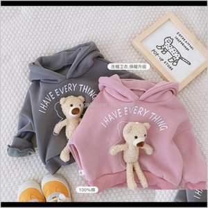 Hoodies Sweatshirts Children Girls Boys Sweater Hoodie Bear Pink Grey Fleece Warm Coat Pullover Sweatershirt Hooded Kids Winter Clothi Edlqo