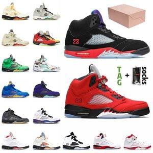 مع صندوق jumpman 5 5s أحذية كرة السلة للرجال النساء 2021 مستعرة بول قبالة الشراع الأسود musllin se أوريغون البديل العنب النار الأحمر رجل أحذية رياضية