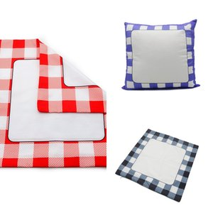 Blank Sublimation Pillow Case 40*40cm Grid Heat Transfer Throw Cushion Cover 3 Colors Home Sofa Pillowcases 60pcs 476 S2