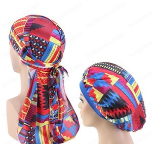 Beanieskull Caps African Pattern Print Silky Durag And 2Pcs Set Women Ankara Bonnet Men Long Tail Durags Wave Sleep Cap Tcos6 7Z6Tc