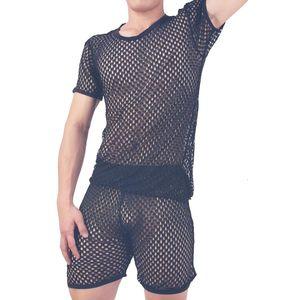 Sleepwears Hombre Sexy Nightwear Men's Underwear Honingrate Mesh Set Breathing Pajamas Homme Home Costumes Bielizna Nocna