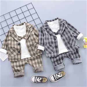 Design Toddler Boys Casual Suit Set Baby Boy Western-style Plaid Infant Boy's Children Clothing Sets