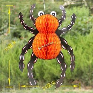 42cm 35cm 25cm Honeycomb Crepe Paper Halloween Spider Vintage Spiders Hanging Decoration Hallowmas Ghost Festival Props Home Garden Wall Hangings G89VDLC