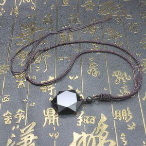 Collar colgante de obsidiana negro Obsidian Star colgante Lucky Love Crystal Jewelry con cuerda libre Curación Reiki Regalo 1090 Q2