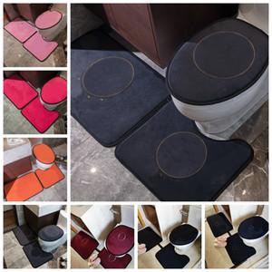 빈티지 욕실 깔개 조수 전체 편지 꽃 화장실 좌석 커버 패션 홈 오버 코트 화장실 커버 카펫 바닥 매트 3pcs 세트